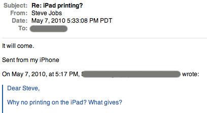 Suposto email do Steve Jobs, sobre impressão no iPad.