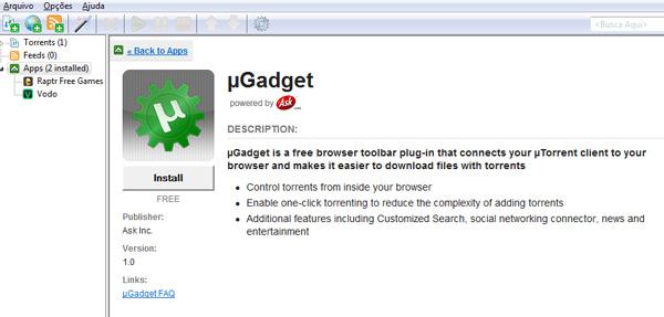 Visual na App Store do uTorrent é similar ao da loja da Apple