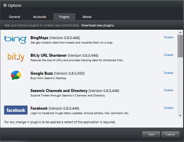 São várias opções de plugins para o Seesmic.