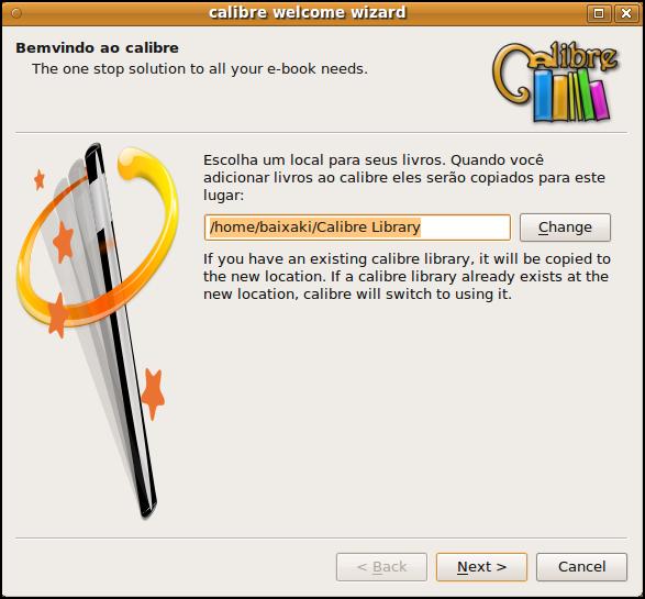 Escolha uma pasta para armazenar seus e-books