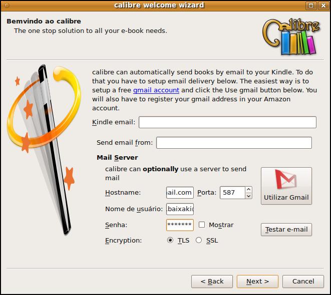 Configure para que os e-books sejam enviados por email