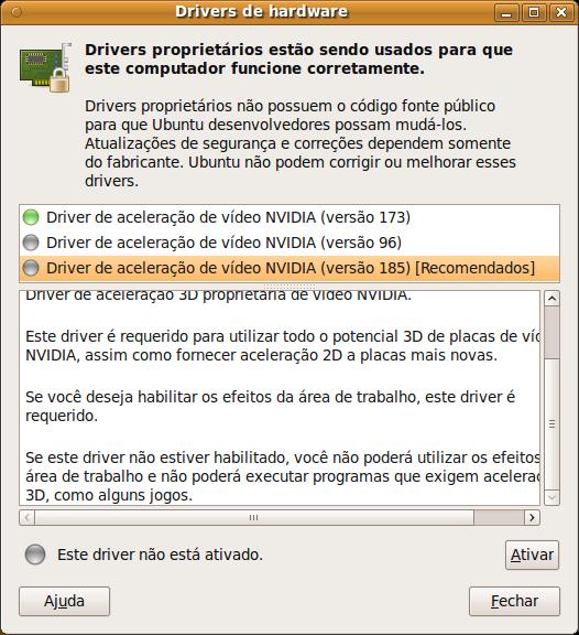 Drivers NVIDIA instalados e recomendados pelo Ubuntu par ao PC Linux do Baixaki