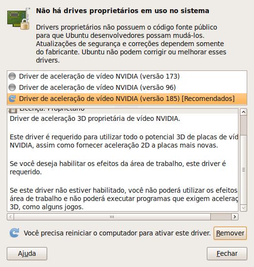 Dependendo do driver, pode ser necessário reiniciar o computador após a instalação