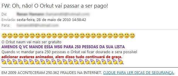 Spams relacionados ao Orkut