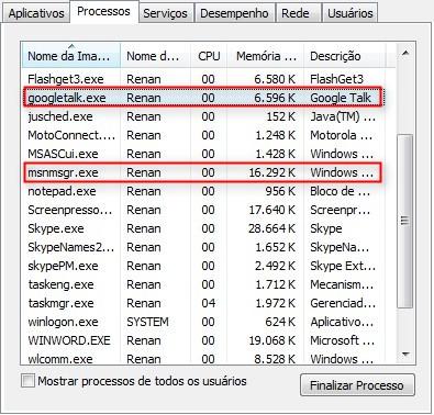 Gtalk em comparação com o Windows Live Messenger