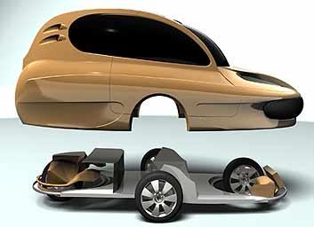 Conceito do carro com rodas-motores