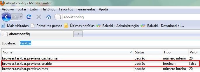 O Firefox não exibe as miniaturas por padrão.