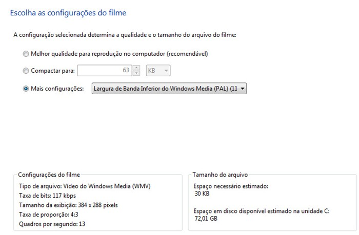 Edite as configurações do video