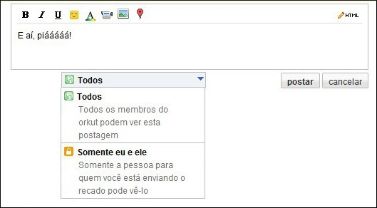 Recados privados no Orkut