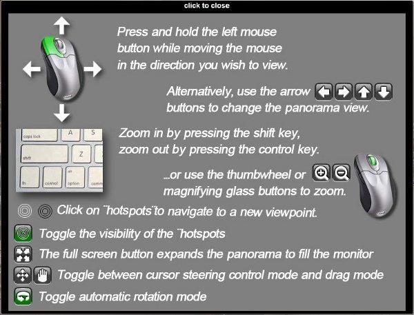Instruções para o controle de navegação do passeio virtual