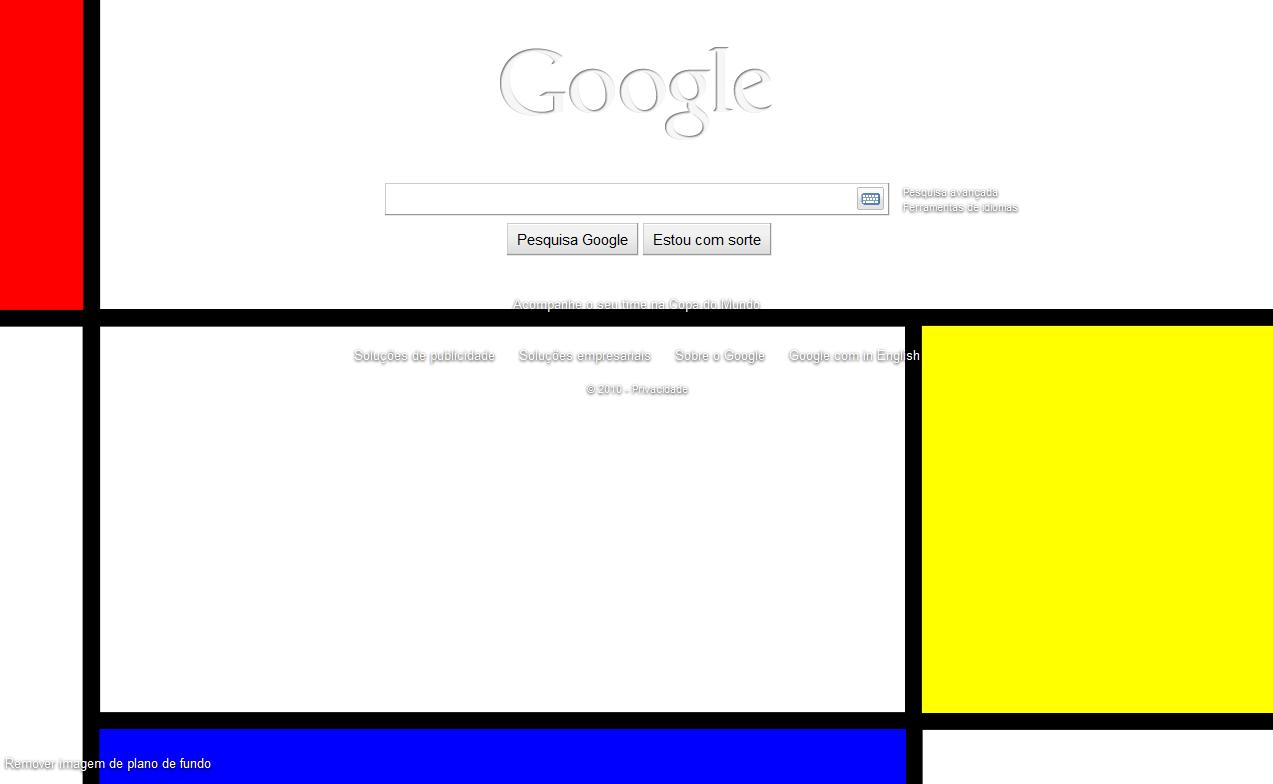 Página de buscas personalizada com uma imagem enviada para o Picasa