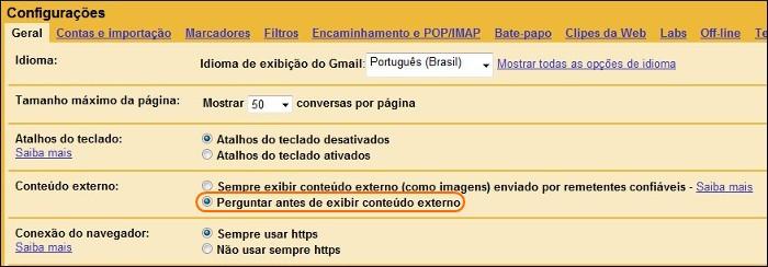 Desabilite a opção de sempre exibir imagens de contatos do Gmail