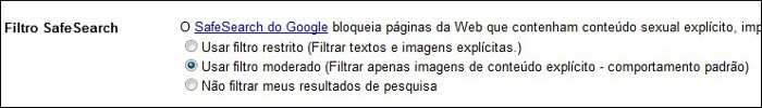 Habilite o filtro SafeSearch