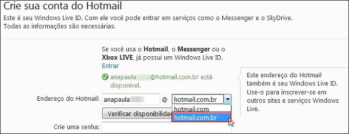 Selecionando a opção hotmail.com.br