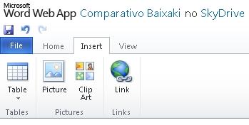 A aba Inserir, bem enxuta em relação à versão para desktop.