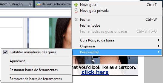 Personalizar > Habilitar miniaturas nas guias