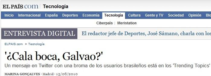 Cala Boca Galvão no jornal espanhol El País.