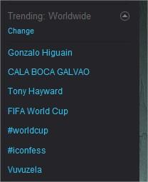 Trending topics às 12h44 do dia 17 de Junho de 2010.