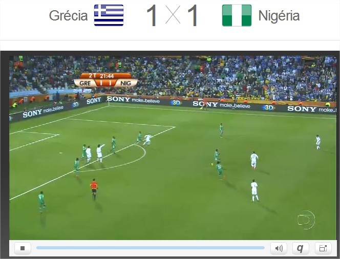 Exemplo de streaming ao vivo dos jogos da Copa 2010.