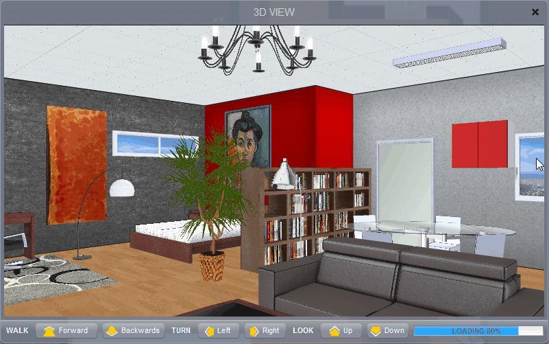 Visualização 3D do ambiente criado