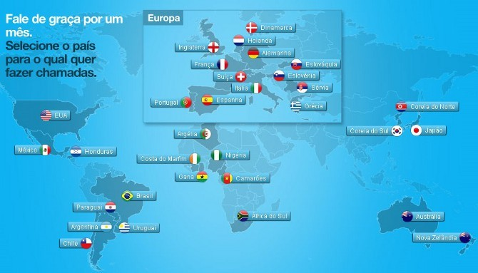 Promoção Skype - países participantes da Copa do Mundo