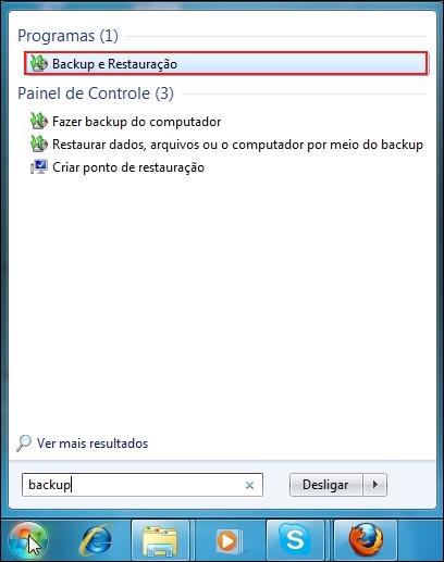 Abrindo a ferramenta de Backup