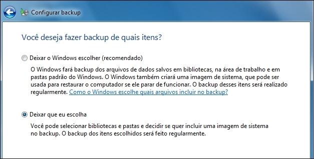 Definindo configurações de Backup