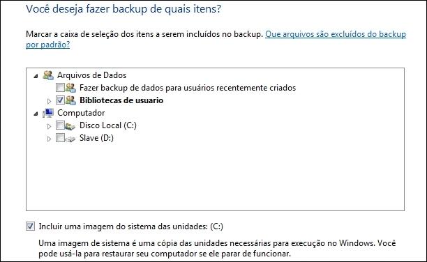 Definindo o conteúdo para Backup