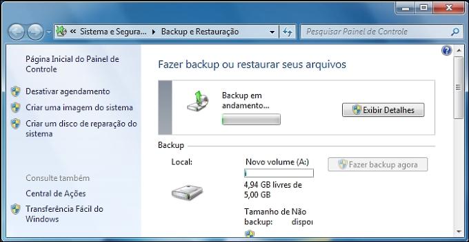 Backup em andamento