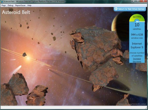 Animação de asteróides