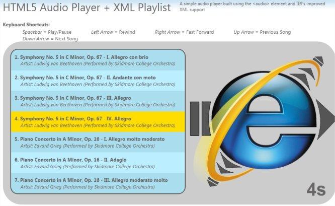Aplicação da tag audio de HTML5