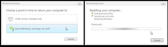 Função para resetar o Windows sem perder nenhum arquivo ou configuração pessoal.