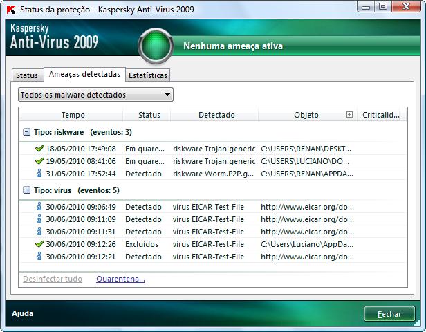Log do Kaspersky mostrando ações e arquivos verificados