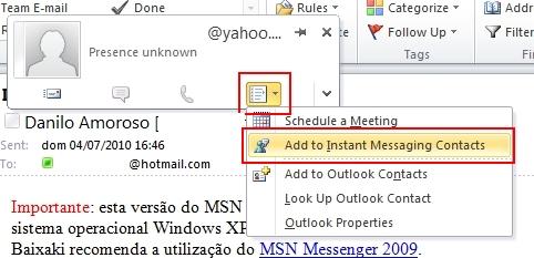 Abra o cartão de visita do contato e adicione-o ao Messenger.