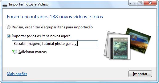 Diálogo de importação de fotos e vídeos