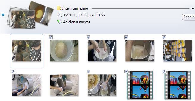 Exibição de  um grupo de imagens durante a importação