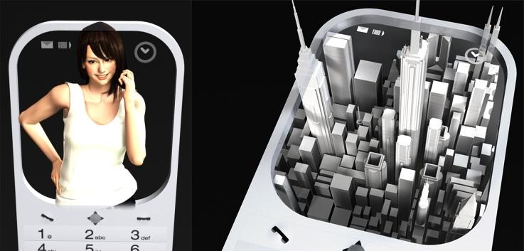Projeções em 3D no celular.