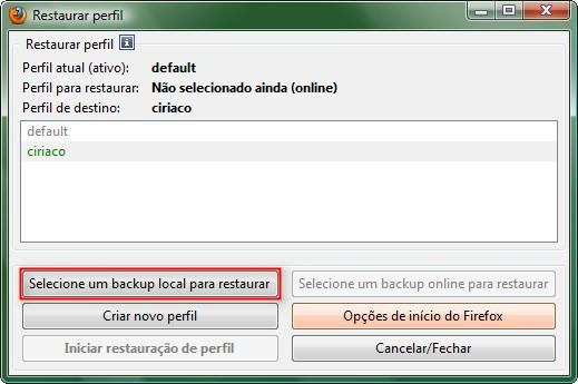 Selecione o arquivo FBU a ser restaurado
