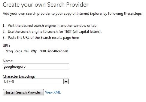 Menu de configuração de buscas do Internet Explorer.