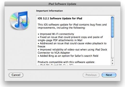 Atualização do sistema do iPad.