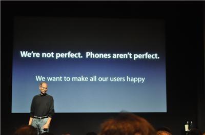 Conferência da Apple sobre o problema na antena.