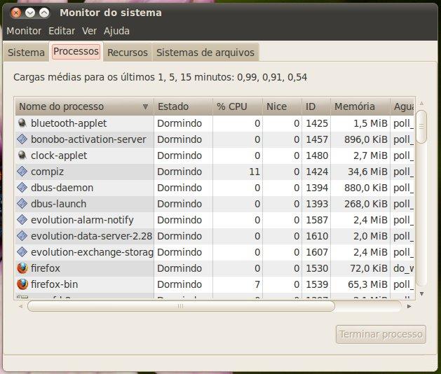 Gerenciador de processos do Ubuntu