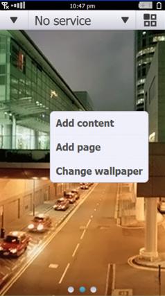 Menu de personalização da tela inicial do Symbian^4