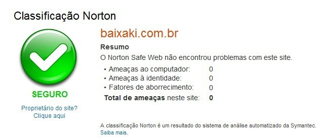 Análise do Norton Safe Web
