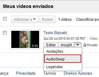 Acesse a ferramenta AudioSwap.