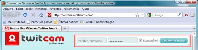 Acesse o Twitcam e entre com seu Twitter.