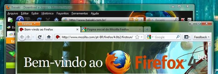 Firefox 3.6 e Firefox 4.0 Beta rodando simultaneamente!