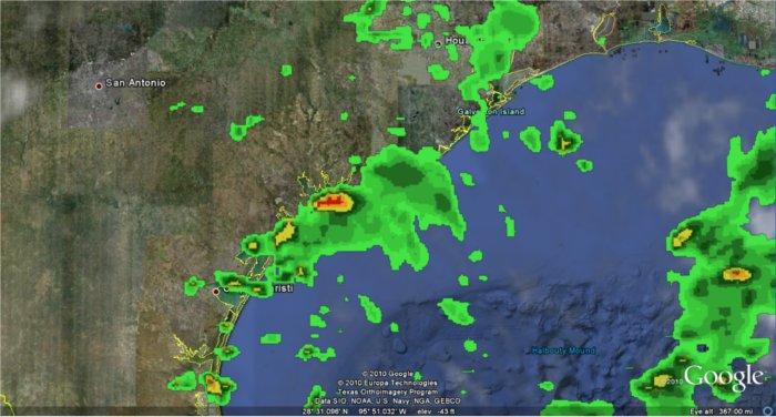 Possibilidade de precipitação direto no Google Earth. Fonte: Google LatLong