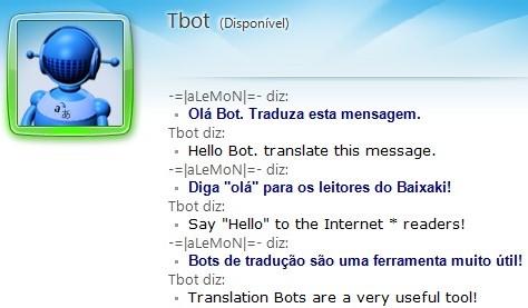 TBot realizando traduções nas mensagens.