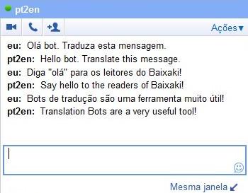 Bot traduzindo mensagens em português para inglês.